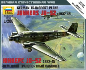 ZVEZDA 6139 - 1:200 German Transport Plane Junkers Ju-52 1932-45