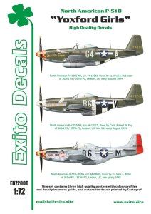 EXITO DECALS ED72008 - 1:72 Yoxford Girls - North American P-51D Mustang