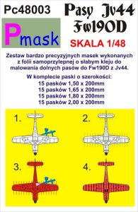 PMASK Pc48003 - 1:48 Painting masks for bottom stripes of Fw190D JV44