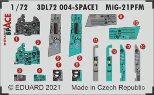 EDUARD 3DL72004 - 1:72 MiG-21PFM - Space 3D Decals + PE