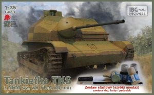 IBG E3501 - 1:35 Tankietka TKS z NKM w.38 FK-A 20 mm z farbami (quick assembly suspension)
