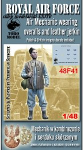 TORO MODEL 48F41 - 1:48 RAF / PAF Air Mechanic wearing overalls and leather jerkin