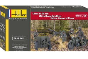 HELLER 81102 - 1:35 Hotchkiss 25mm AT Gun, Hotchkiss Machine Gun, Gnome et Rhone w/ figures