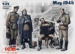 ICM 35541 - 1:35 May 1945 , Soviet military men at rest - set of 4 figures