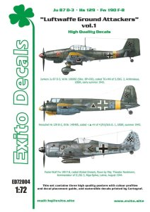 EXITO DECALS ED72004 - 1:72 Luftwaffe Ground Attackers vol.1 - Ju 87 D-3, Hs 129, Fw 190F-8