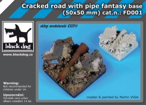 BLACK DOG FD001 - Cracked road with pipe base fantasy base 50x50 mm