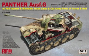 RYE FIELD MODEL 5019 - 1:35 Panther Ausf.G w/ Full Interior & Workable Track Links & Cut Away Parts of Turret & Hull