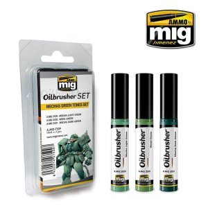AMMO MIG 7509 - Oilbrusher Set - Mechas Green Tones Set