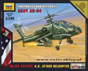 ZVEZDA 7408 - 1:144 AH-64 Apache - U.S. Attack Helicopter - Hot War Series