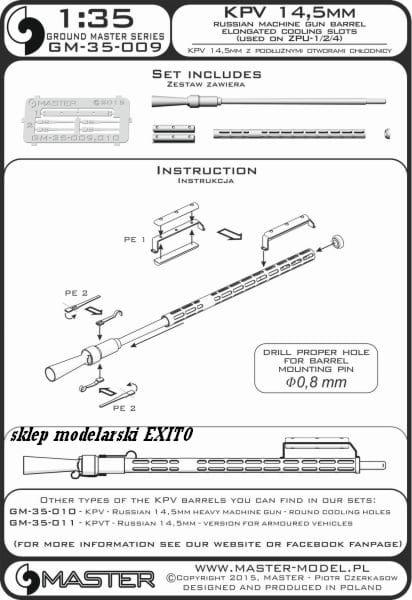 1//35 MASTER MODEL GM35009 BARREL for MG KPV14,5mm for RUSSIAN ZPU-1//2//4